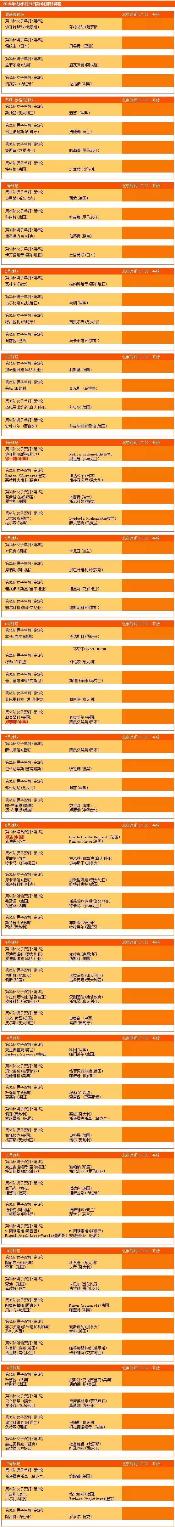 【5月27日】2015年法网第四天完整赛程