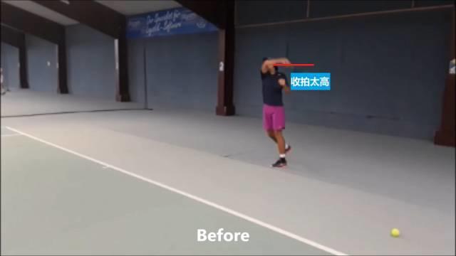 网球正手击球没有穿透力?试试调整一下你的收拍位置!
